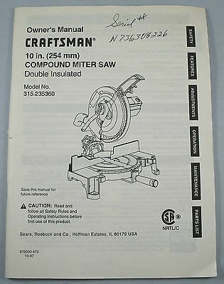 Delta 36 220 10 Inch Compound Miter Saw Parts Manual