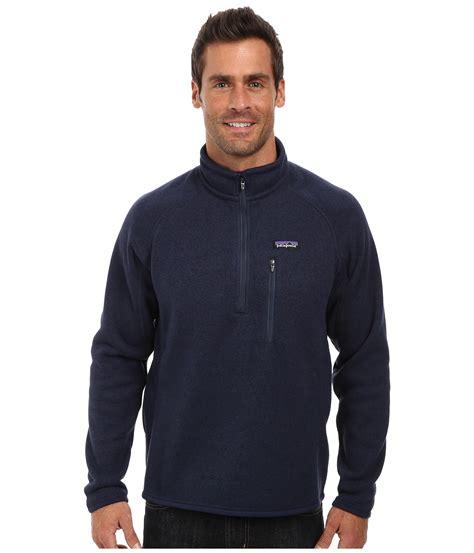 Vans Sweater Zipper Oldys Navy lyst patagonia better sweater 174 fleece 1 4 zip in blue