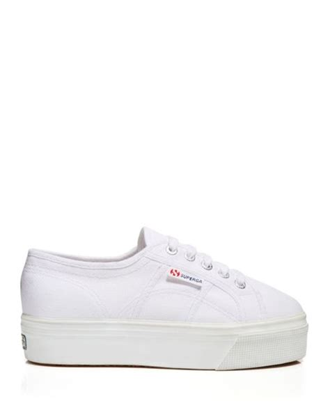 superga platform sneakers superga lace up platform sneakers in white lyst
