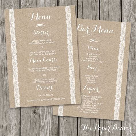 wedding menu printable bar menu template kraft paper