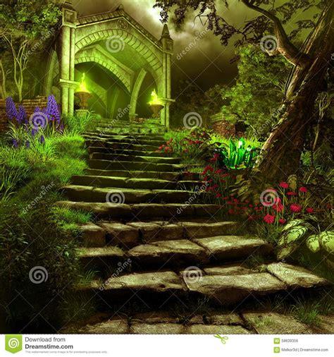 Secret Garden Door Wall Gate To Mystery Garden Stock Illustration Image 58639356