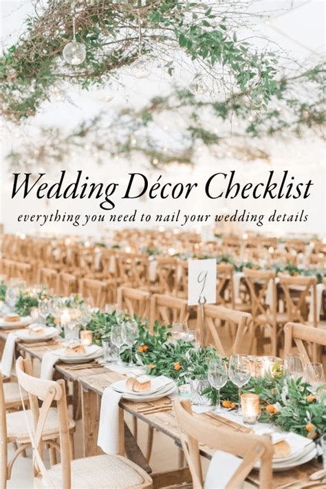 use this wedding d 233 cor checklist to help you nail every