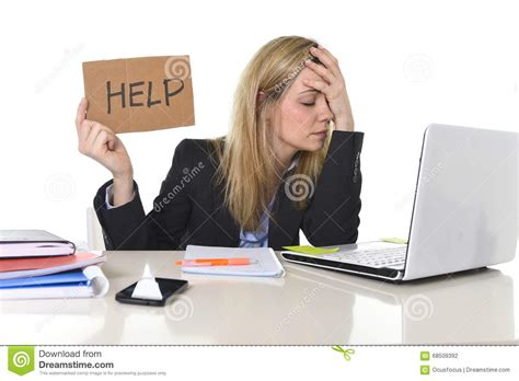 Office Help Desk Beautiful Business Suffering Stress Working At Office Asking For Help Feeling Tired