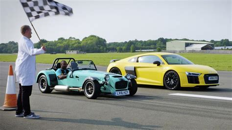 Top Gear Audi R8 by Top Gear Drag Races Audi R8 V10 Vs Caterham 620s Top Gear