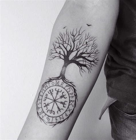 vegvisir tattoo vegvisir and tree tattooed