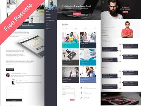 free personal cv resume web template psdboom