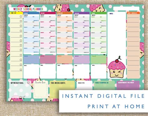 printable planner kawaii weekly planner deals on 1001 blocks