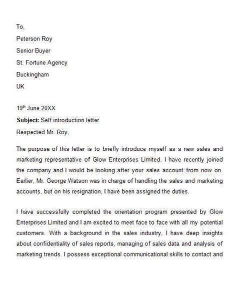 Business Cover Letter Of Introduction by 41 Free Letter Of Introduction Templates Exles Free