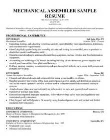 Assembly Resume by Assembly Line Resume Sle Sle Resume