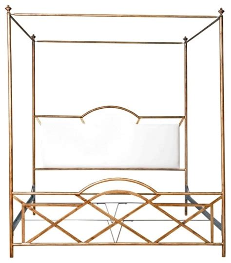 Gold Canopy Bed Westwood Gold Upholstered Canopy Bed Traditional Canopy Beds Other Metro By