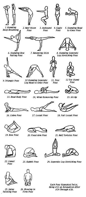 twenty six posture exercises bikram poses