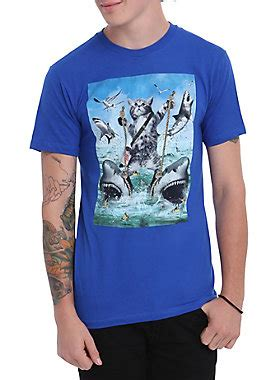 T Shirt Kaos Cozmeed Animal Shark cat sharks t shirt topic