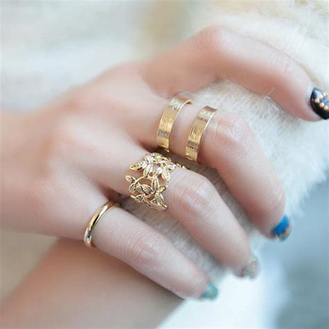 New Colour Silverstone Hollow Ring Set 3pcs buy 3pcs hollow out leaves band midi knuckle finger rings set gold plated bazaargadgets