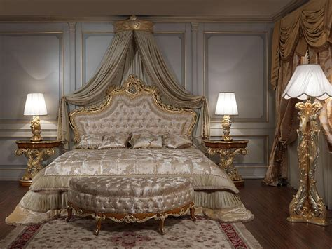 luxury canopy bed classic bed headboard carved and gilded capitonn padding idfdesign