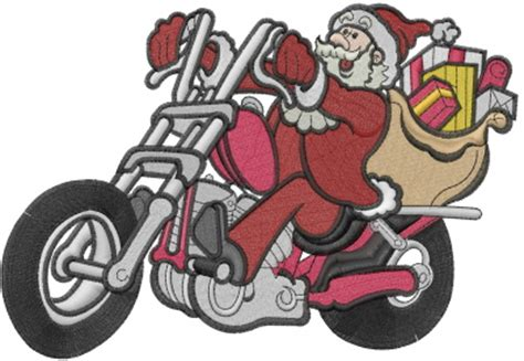 harley ann wolf christmas for two motorcycle santa embroidery design annthegran