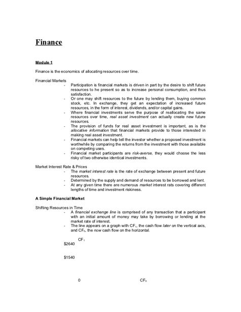Mba Finance Lectures by Financial Management Notes Mba Finance Docfinancial