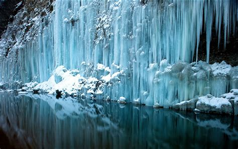 frozen waterfalls ice waterfall water reflection rivers freeze frozen snow