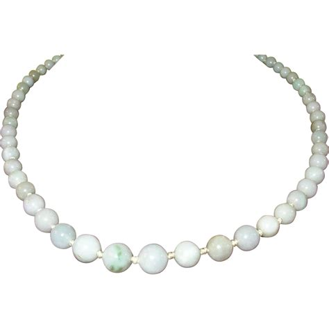 antique jade bead necklace vintage white jade beaded necklace from robbiaantique on
