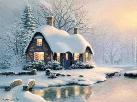 snowy cottage other abstract background wallpapers on
