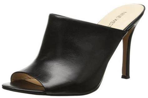 black leather high heel mules s shoes nine west funnyhow high heel mules peep toe