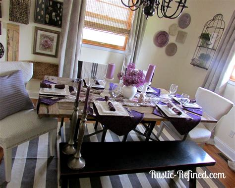 purple pinch tuesday tablescape rustic refined