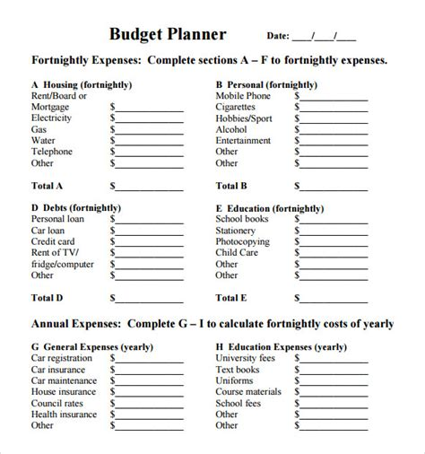 Credit Form Utas Budget Planner Template 8 Free For Pdf Excel