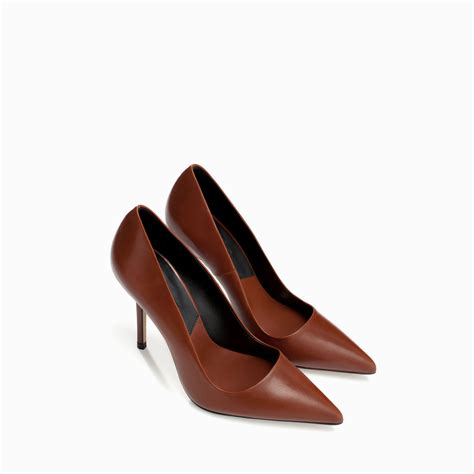 zara shoes for zara leather court shoe in brown lyst