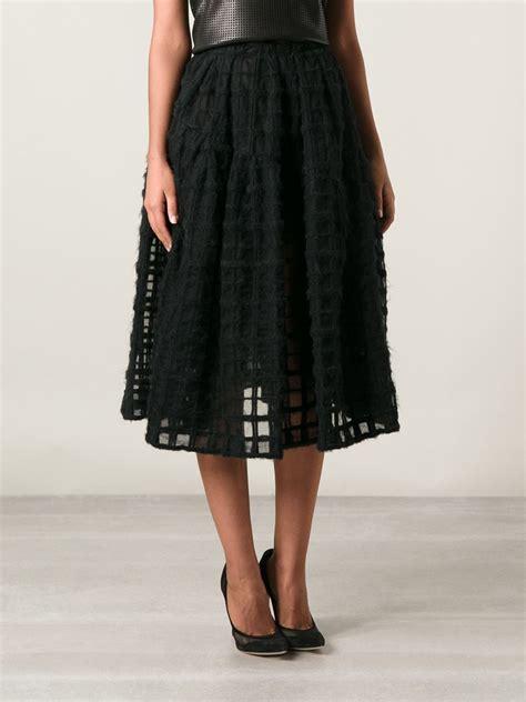 black patterned midi skirt simone rocha check pattern midi flared skirt in black lyst