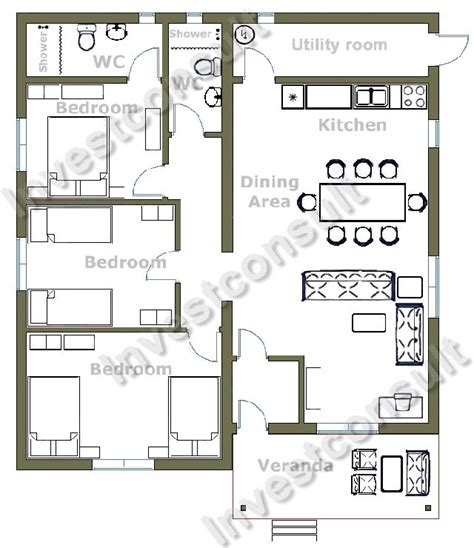 bed floor plan 3 bedroom house plans