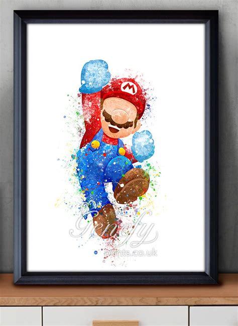 Pin Bros Printing mario smash bros watercolor painting poster print wall decor https www etsy