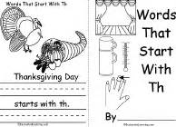 thanksgiving words that start with t words that start with th book a printable book