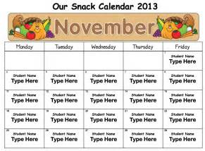 snack calendar template mrs solis s teaching treasures snack calendars