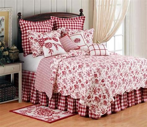 country bed sets christmas quilt sets toile country houses and white pillows