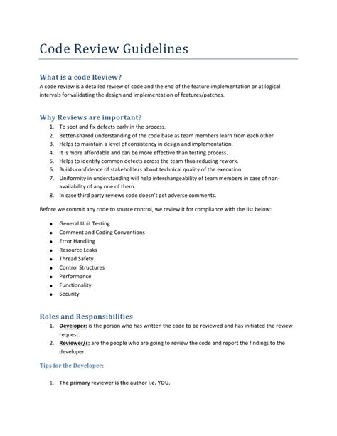 Code Review Guidelines Coding Standards Document Template