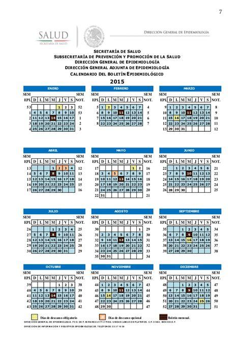 calendario epidemiologico y de efemerides mexico 2015