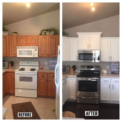 kitchen cabinet crown before and after kitchen added crown molding new taller