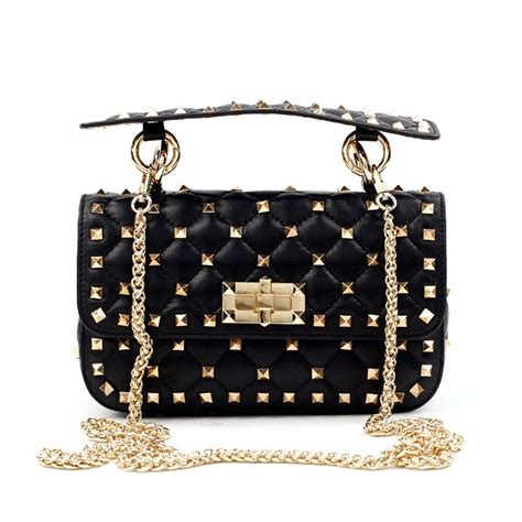 Chyntia Studded eldora 171 cynthia 187 genuine sheepskin leather quilted studded top handle flap bag black 76446