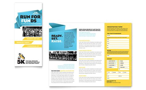 three page brochure template charity run tri fold brochure template design