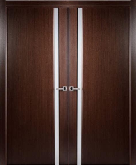 Contemporary Wenge Veneer Interior Double Door Frosted Frosted Glass Closet Doors Modern