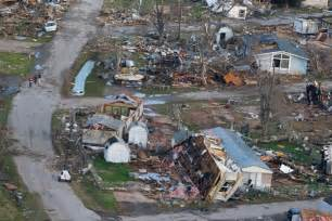 An aerial photo of storm damage to the river oaks mobile home park in