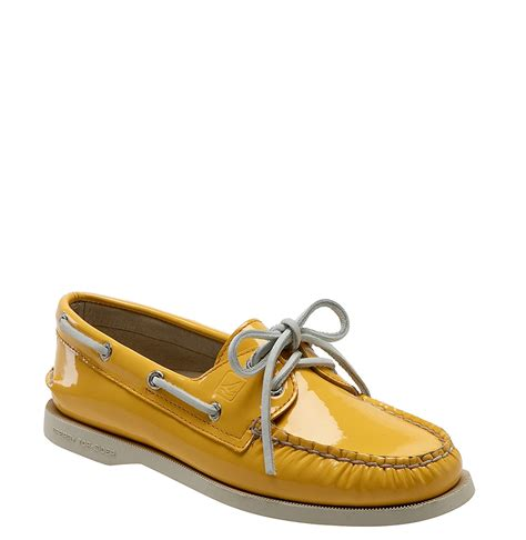 yellow sperry boat shoes sperry top sider authentic original leather boat shoe in