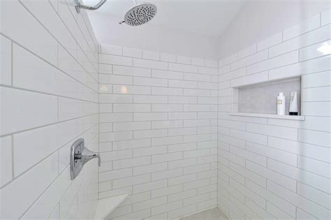 white subway tile shower large white subway tile tile design ideas