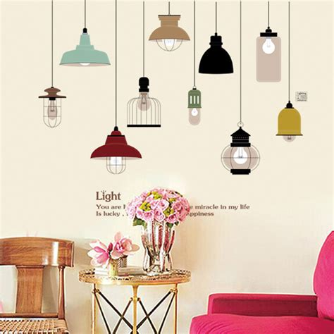 Lukisan Retro Jadul Unik Our Kitchen retro hanging l wall sticker electric light vinyl kitchen dining room wall stickers decor