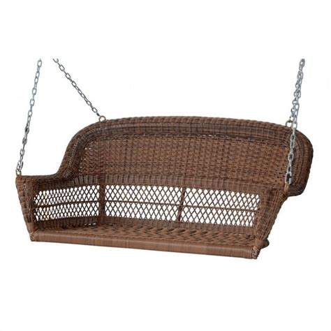 wicker swing jeco resin wicker porch swing in honey w00205s c