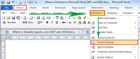 format footnote line word 2010 where is the endnote in microsoft word 2007 2010 2013