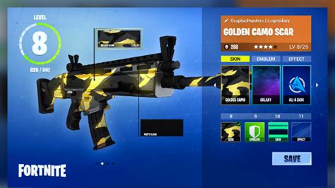 which fortnite skin am i this golden camo scar makes a strong for fan made