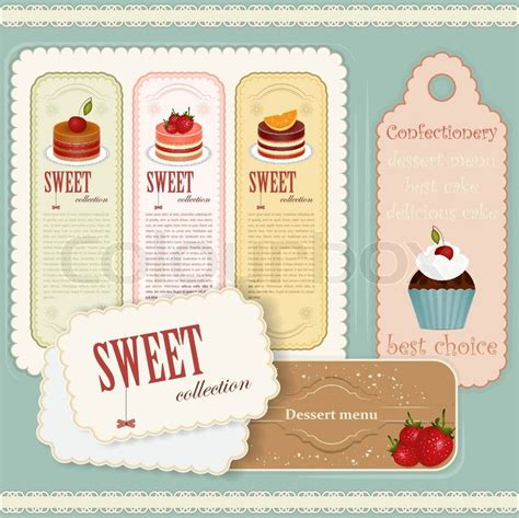 Vintage Dessert Menu Set Of Labels Stock Vector Colourbox Dessert Labels Template