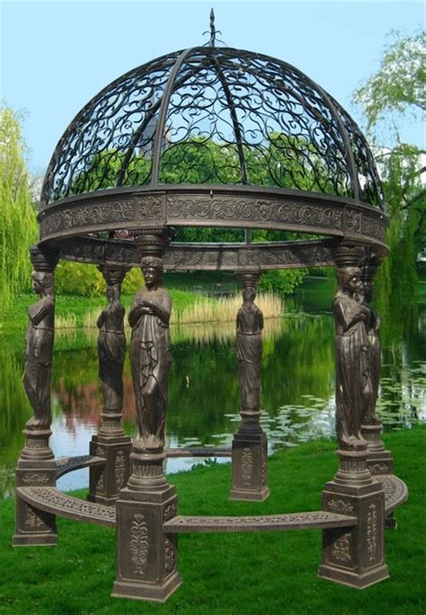 figural beautiful cast iron victorian style gazebo 4 ebay