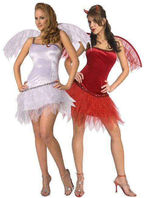 imagenes de trajes halloween para mujeres disfraz de parejas de angel y demonio