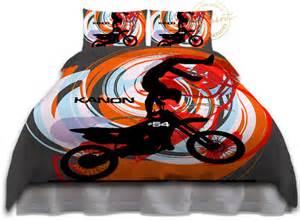 Full Duvet Insert Orange Motocross Duvet Cover Kids Bedding Kids Rooms